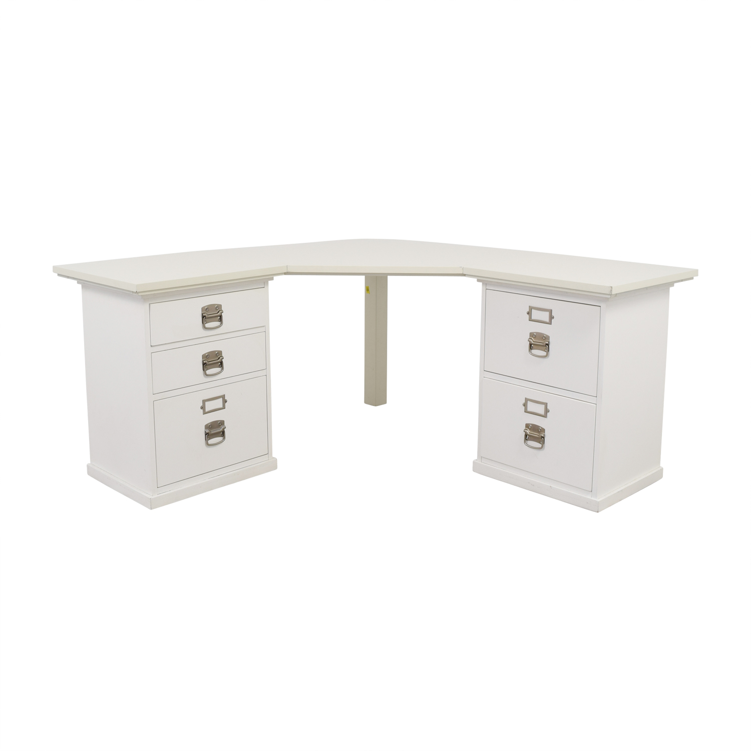 Pottery Barn Pottery Barn White Five-Drawer Corner Desk second hand