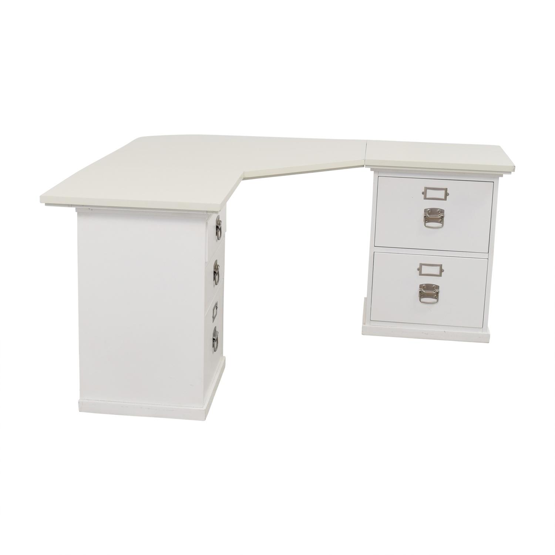 31% OFF - Pottery Barn Pottery Barn White Five-Drawer Corner Desk / Tables