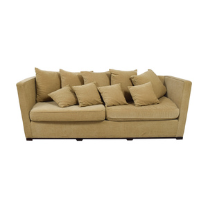 Tan Two-Cushion Couch with Toss Pillows nyc