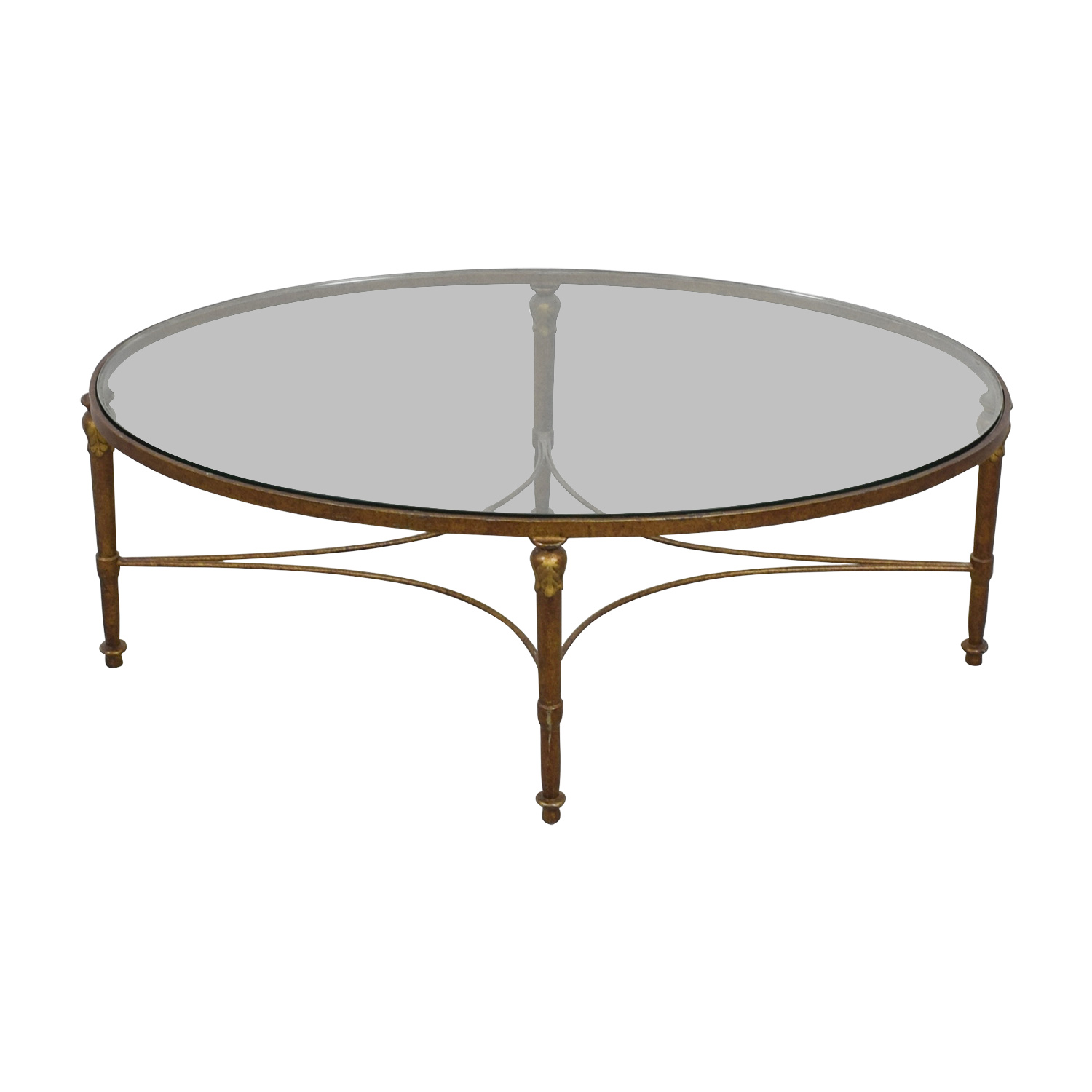 Oval Wrought Iron Framed Glass Table for sale