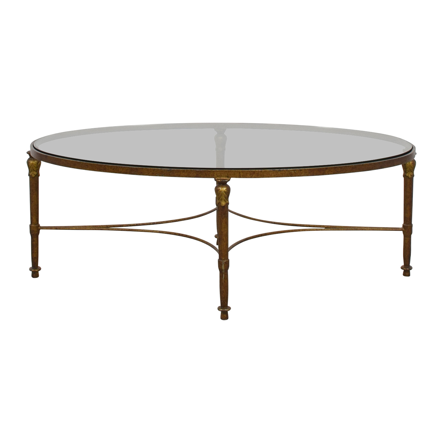 Oval Wrought Iron Framed Glass Table Coffee Tables