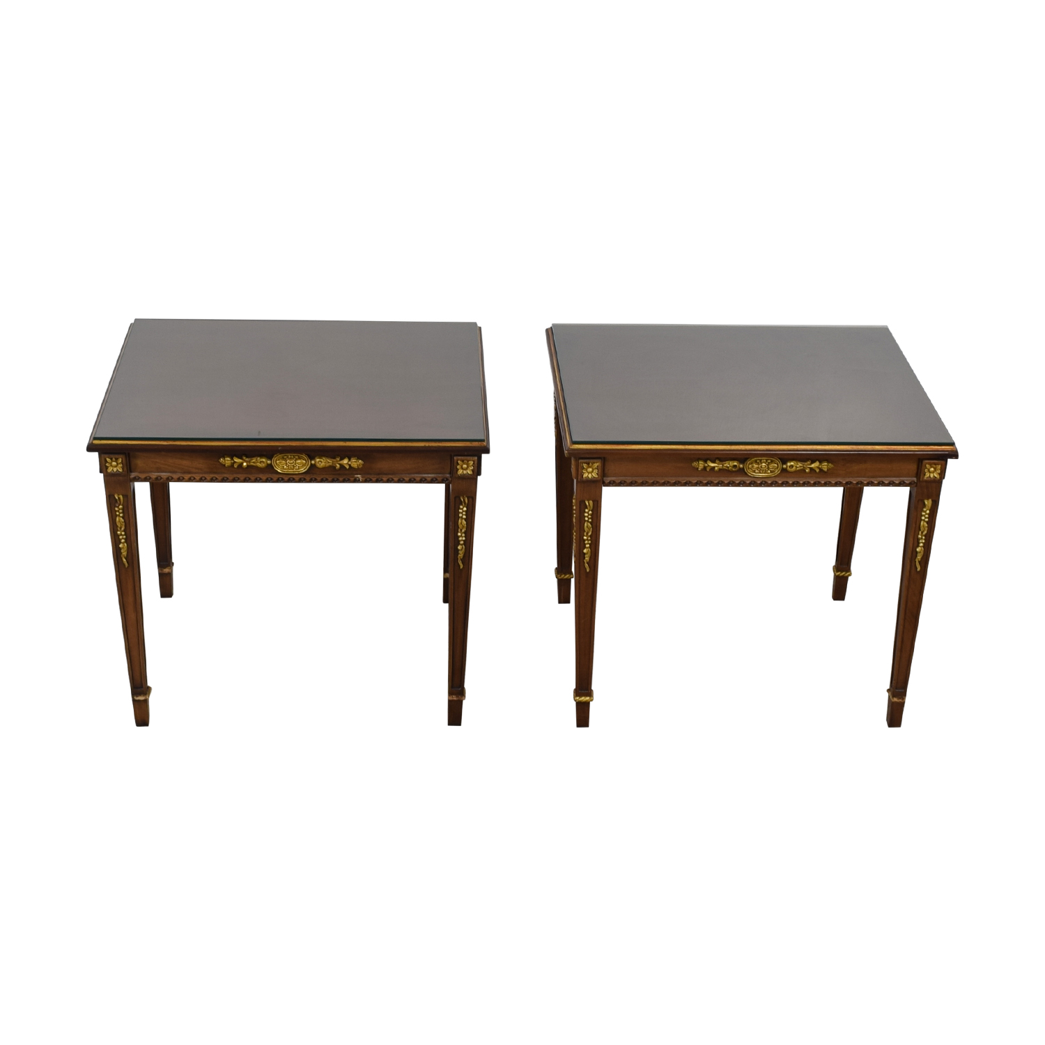 Wood & Gold Trimmed End Tables with Glass Protective Top nj