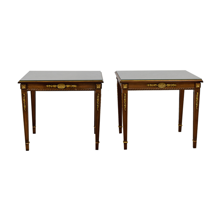 Wood & Gold Trimmed End Tables with Glass Protective Top dimensions
