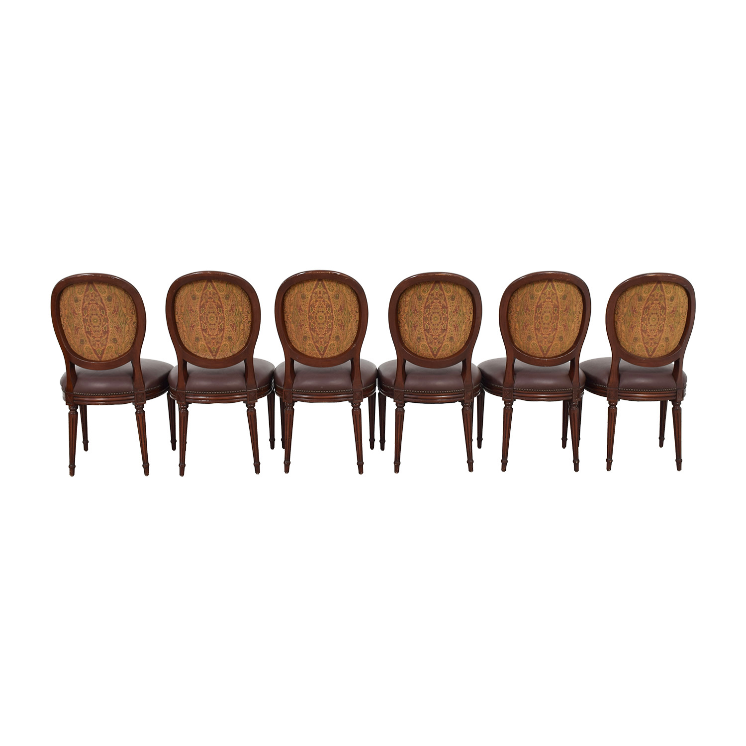 Brown Leather Nailhead French Chairs / Accent Chairs