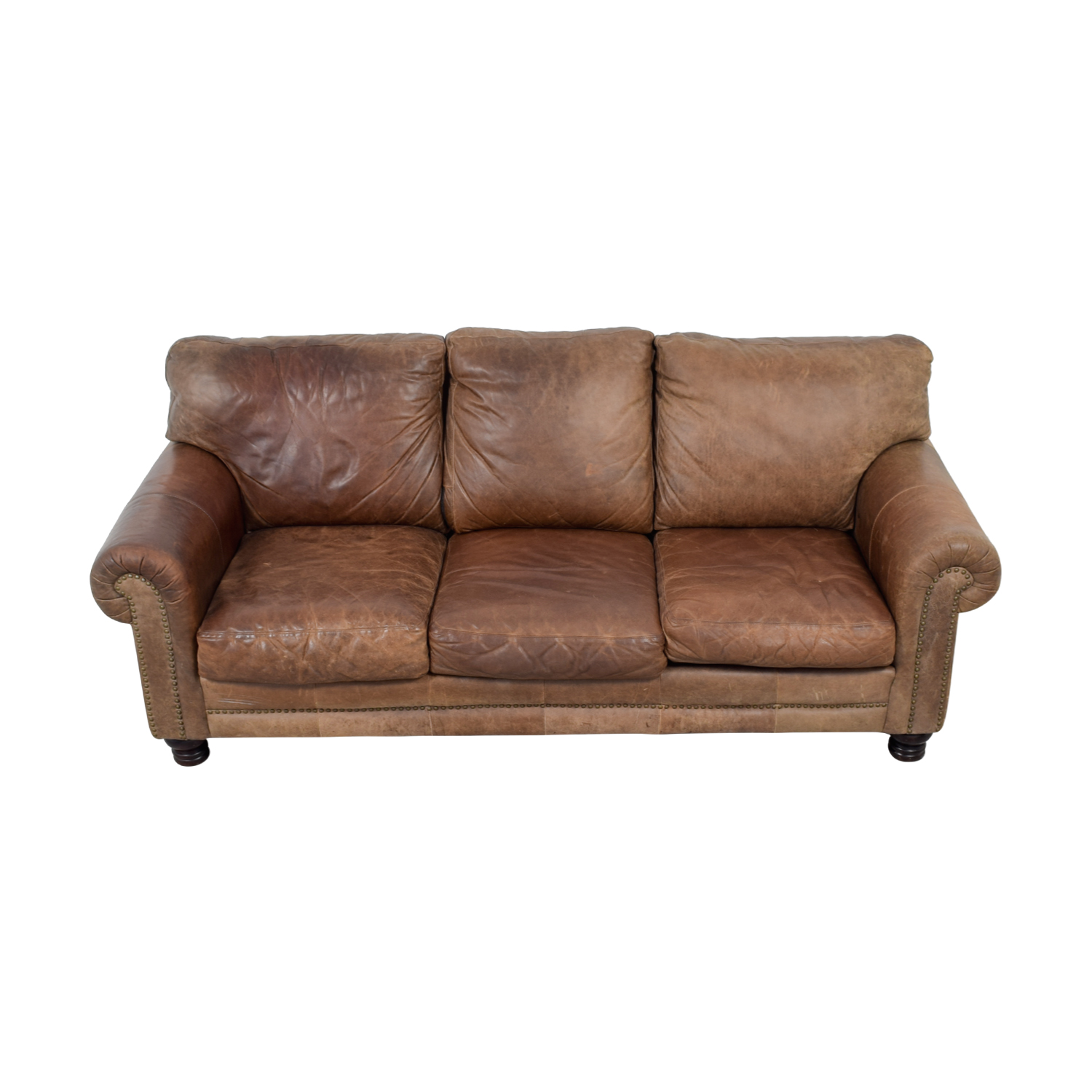 Three Cushion Brown Leather Couch