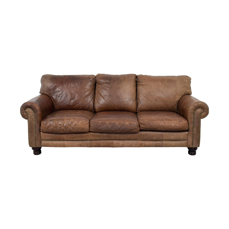 shop La-Z-Boy Three-Cushion Brown Leather Couch La-Z-Boy Sofas