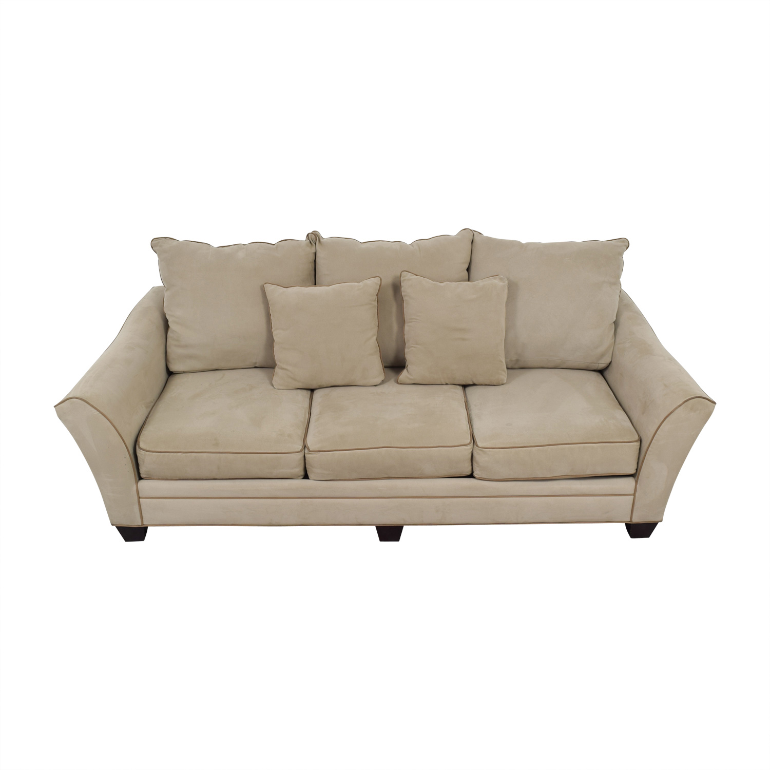 Raymour & Flanigan Raymour & Flanigan Beige Microfiber Three-Cushion Sofa price