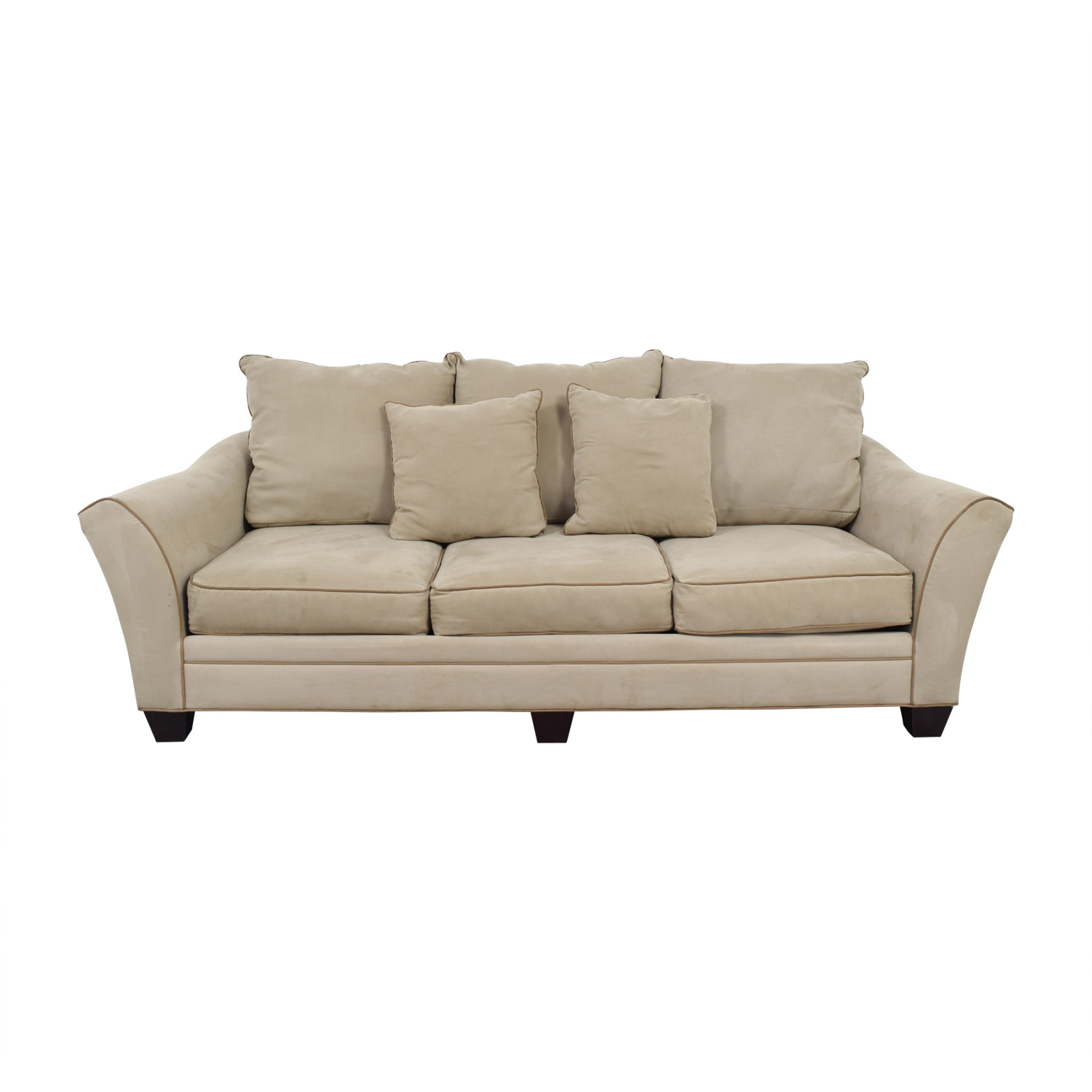 Raymour & Flanigan Raymour & Flanigan Beige Microfiber Three-Cushion Sofa second hand