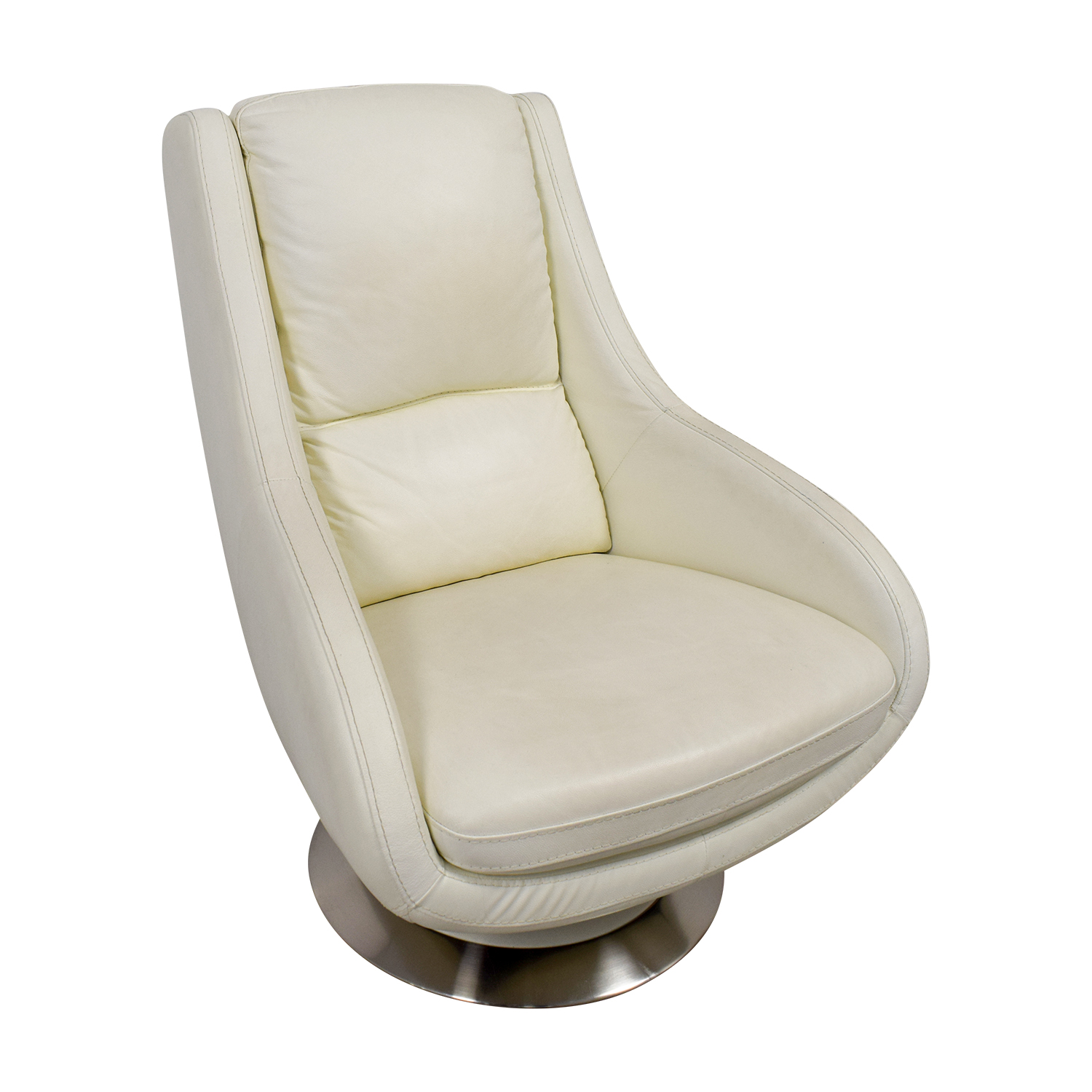 Design Within Reach White Leather Swivel Chair / Chairs