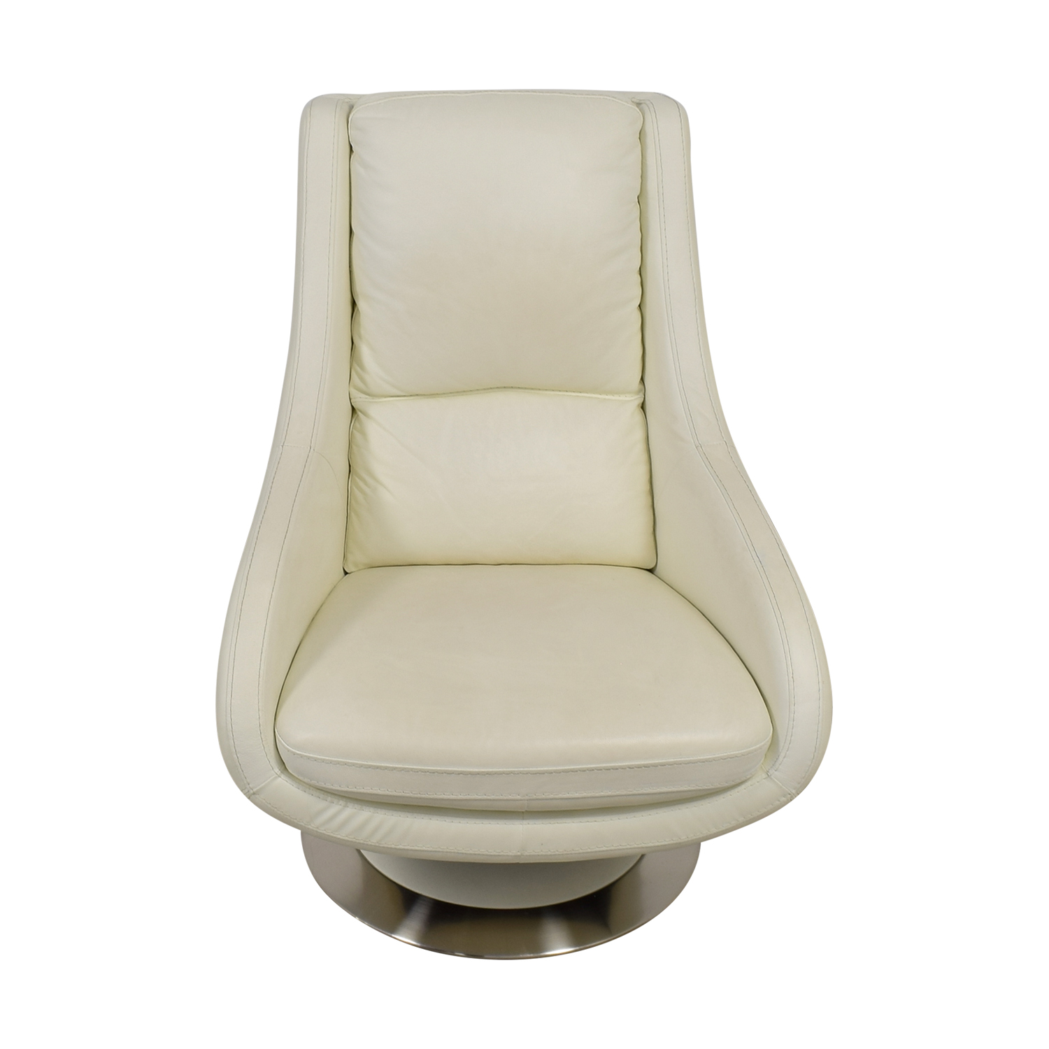 Design Within Reach Design Within Reach White Leather Swivel Chair nj