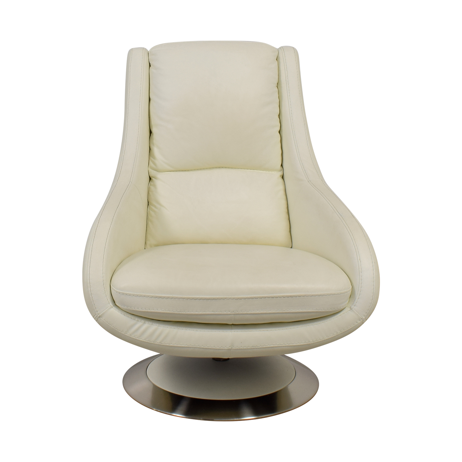 Design Within Reach White Leather Swivel Chair sale