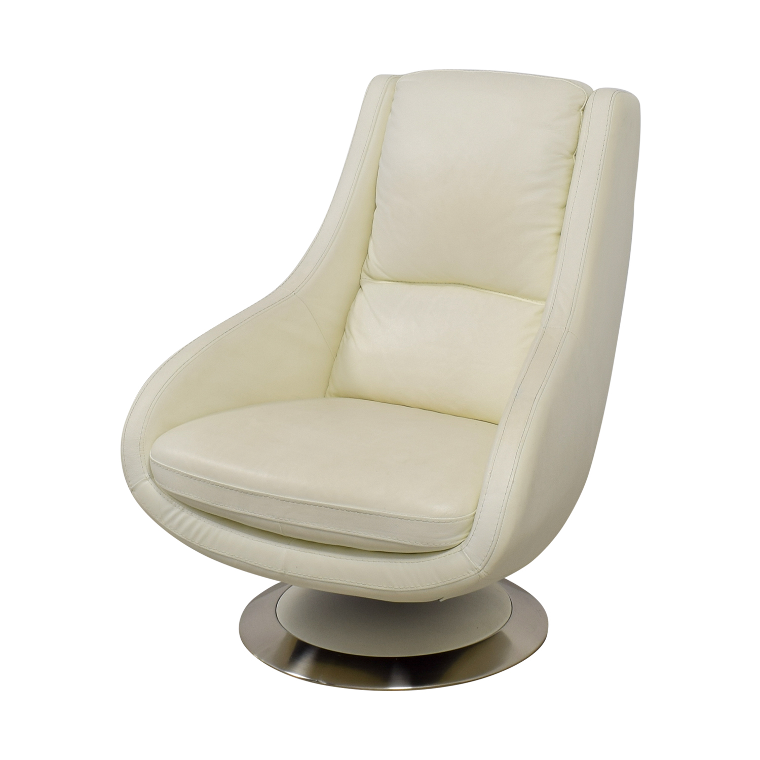 Design Within Reach Design Within Reach White Leather Swivel Chair Accent Chairs