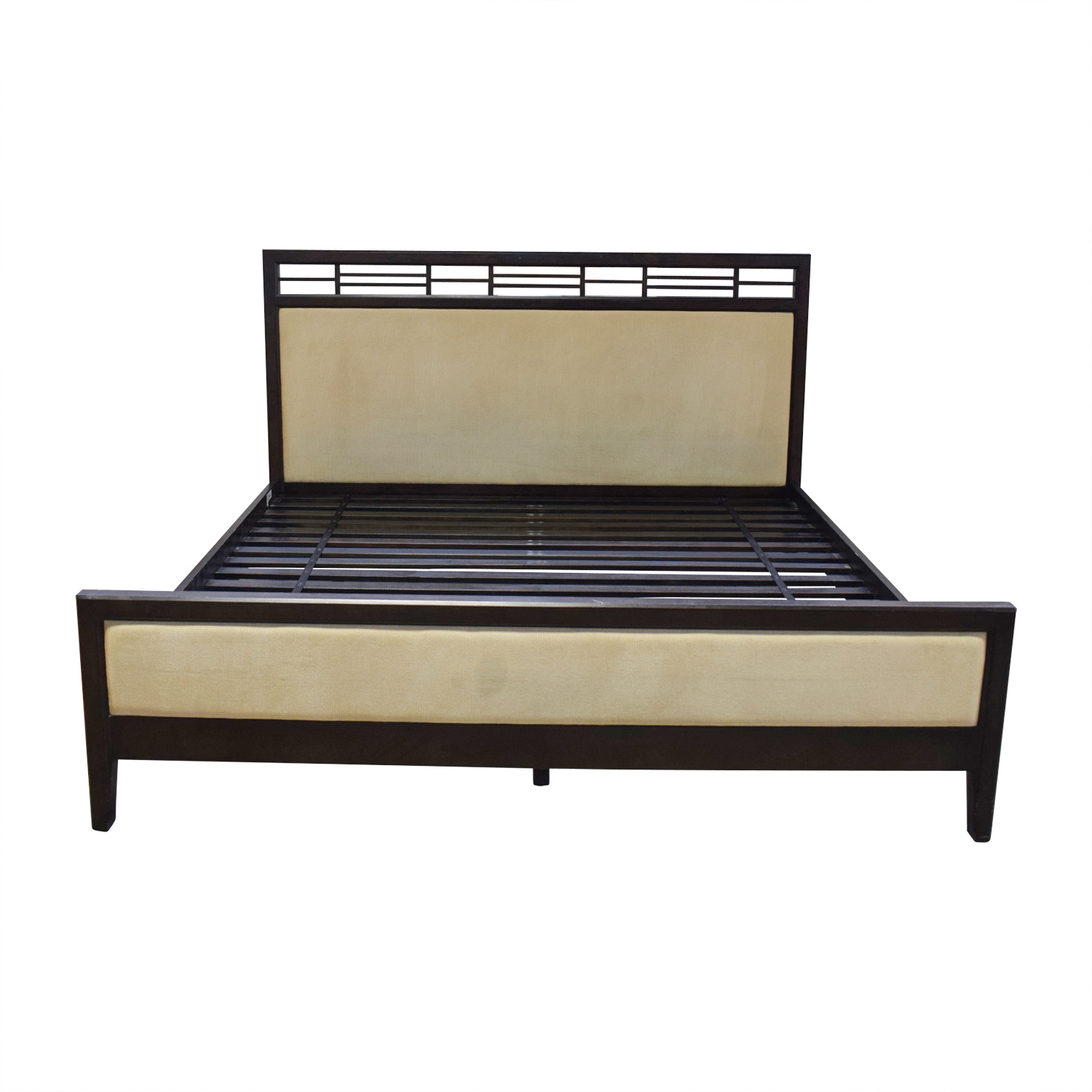 Crate & Barrel Crate & Barrel Beige Upholstered Black King Bed Frame dimensions