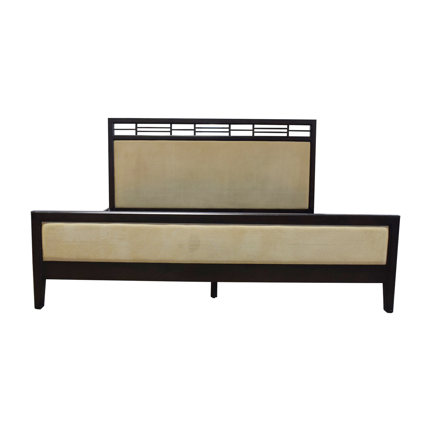 Crate & Barrel Crate & Barrel Beige Upholstered Black King Bed Frame discount