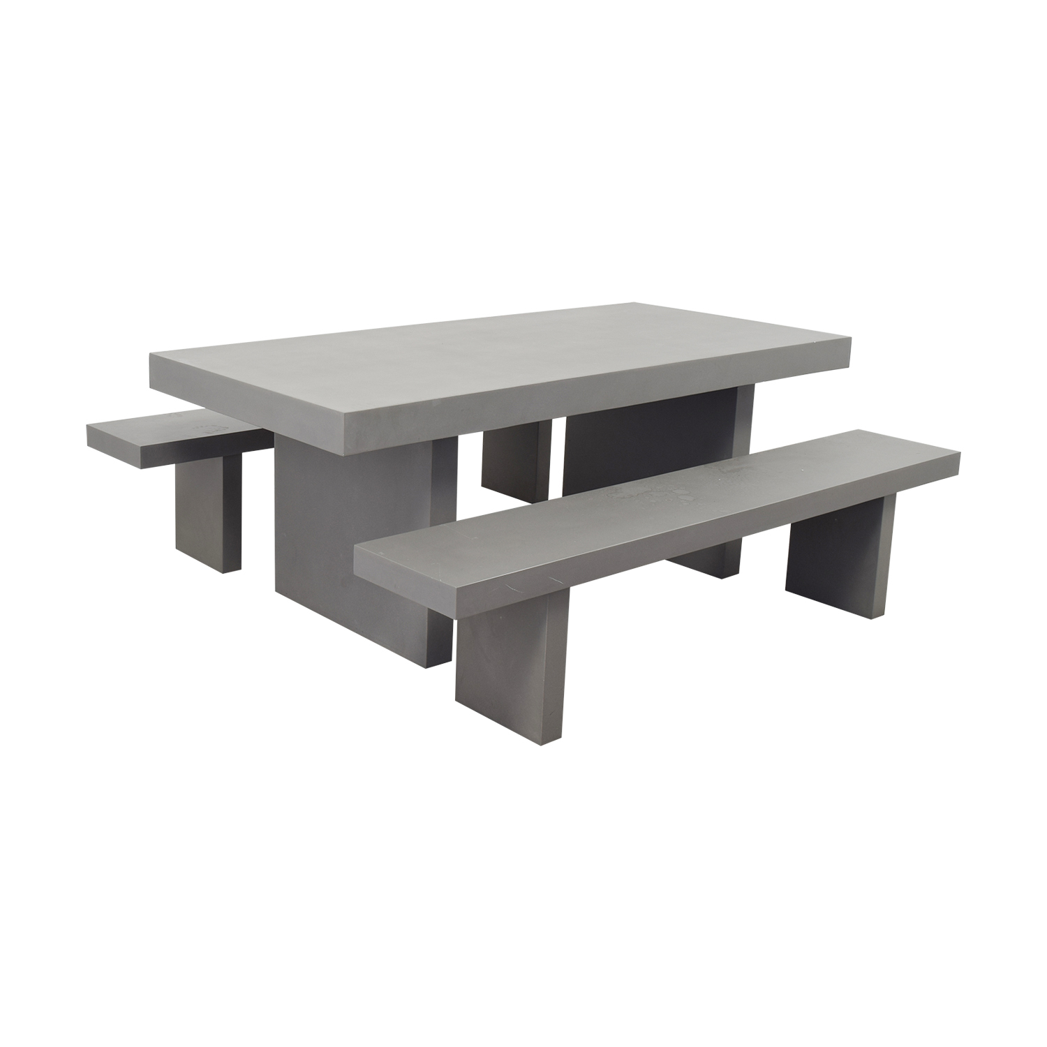 West Elm West Elm Quarry Gray Rectangle Dining Table and Benches