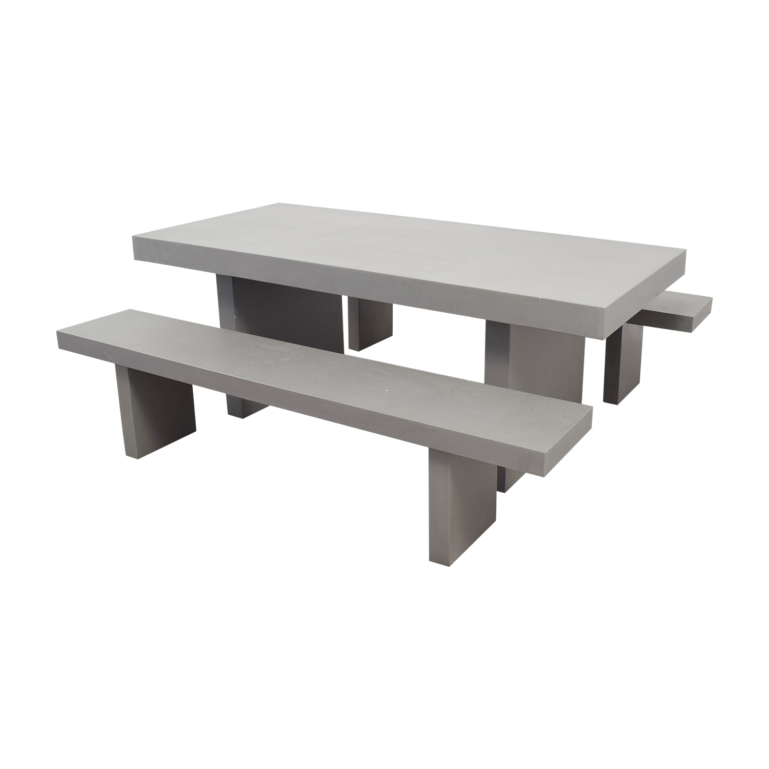 shop West Elm Quarry Gray Rectangle Dining Table and Benches West Elm Dining Sets