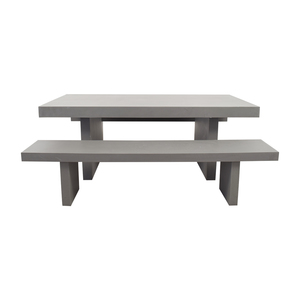 West Elm West Elm Quarry Gray Rectangle Dining Table and Benches dimensions