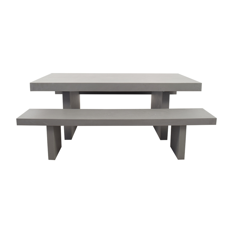 West Elm West Elm Quarry Gray Rectangle Dining Table and Benches price