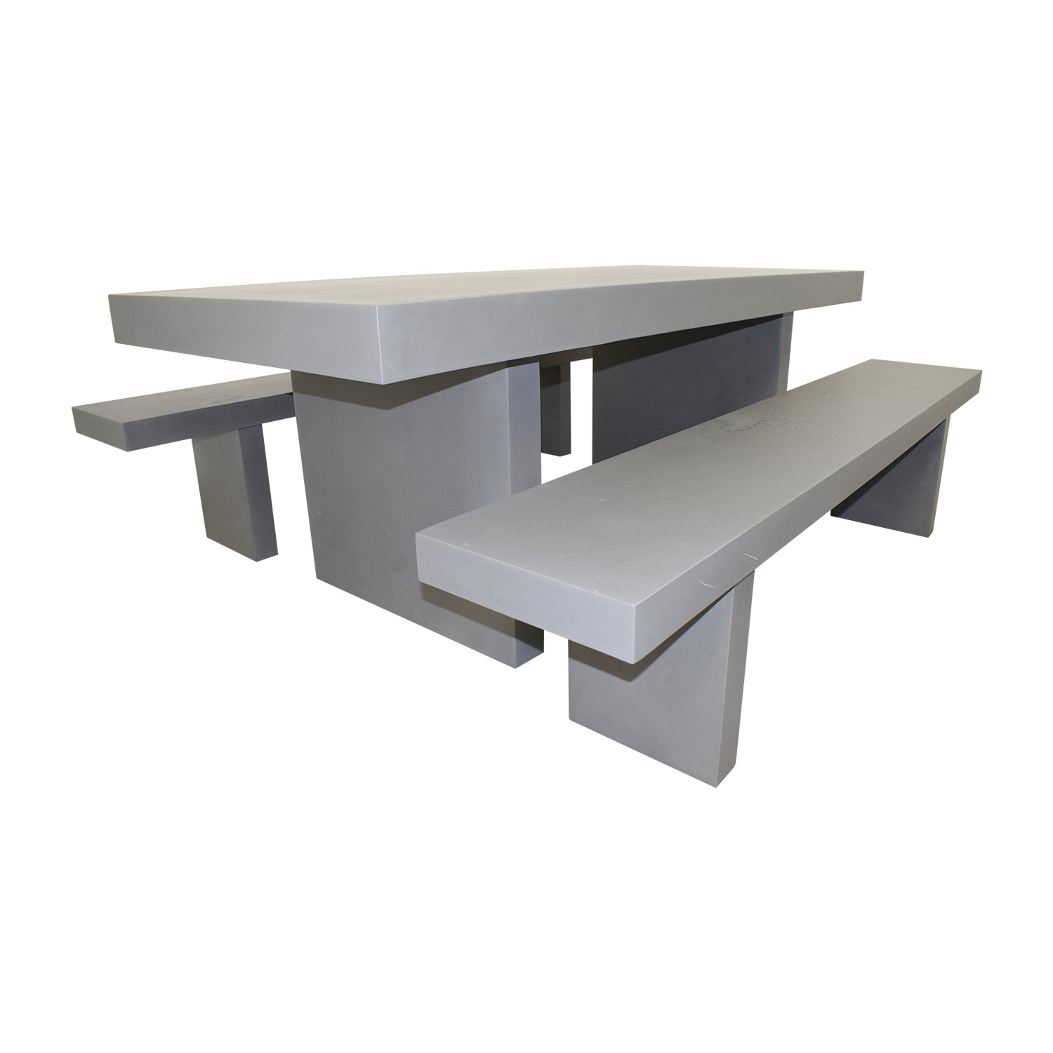 West Elm West Elm Quarry Gray Rectangle Dining Table and Benches Tables