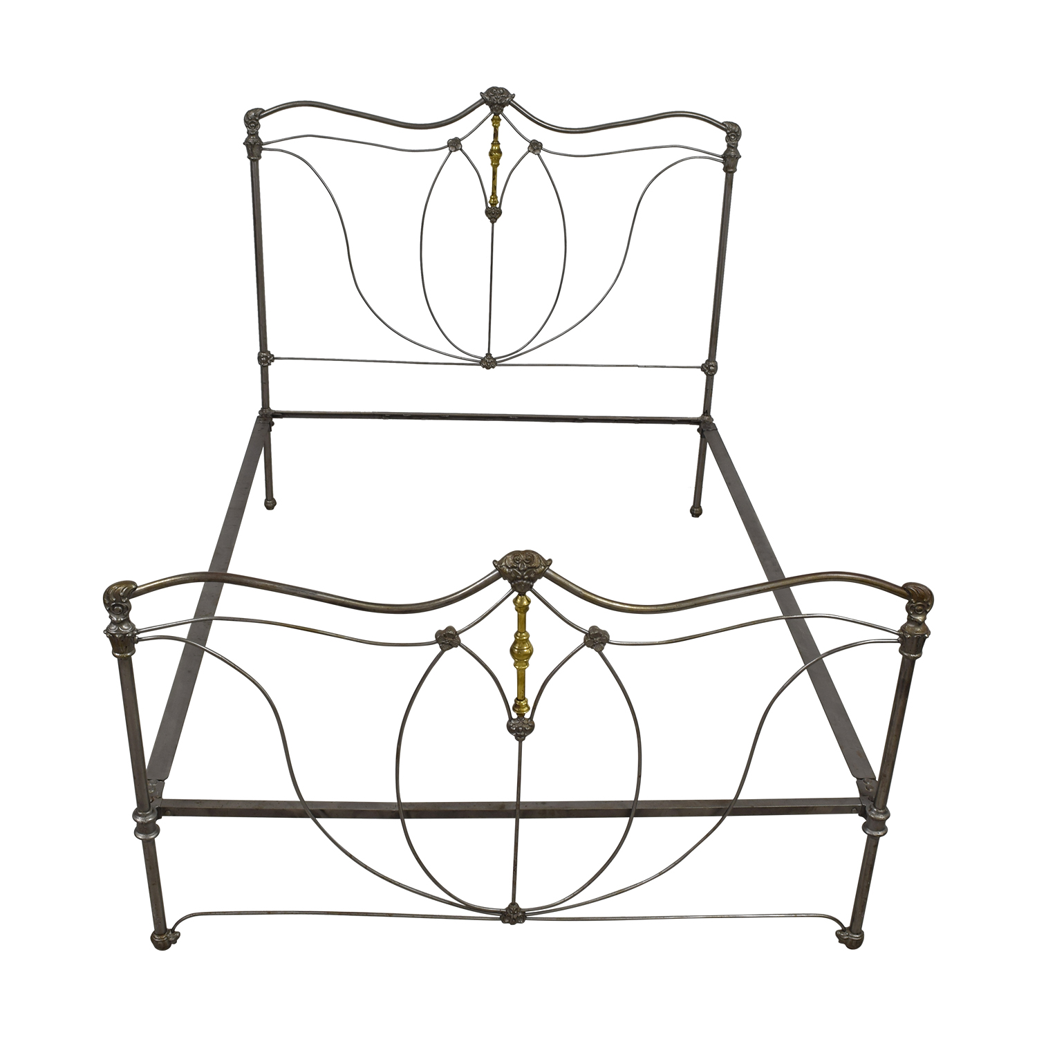 French Antique Iron and Brass Queen Bed Frame / Beds