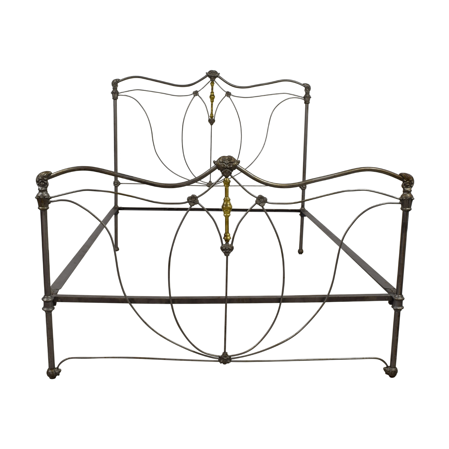 French Antique Iron and Brass Queen Bed Frame nj