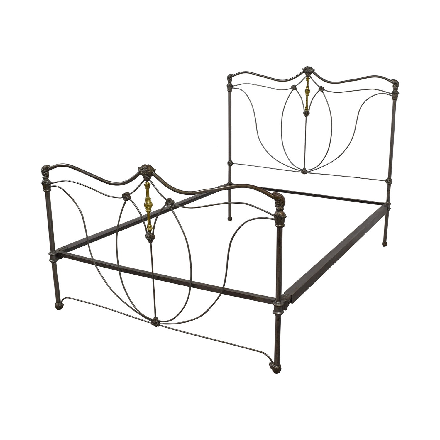 90 off french antique iron and brass queen bed frame beds. Black Bedroom Furniture Sets. Home Design Ideas