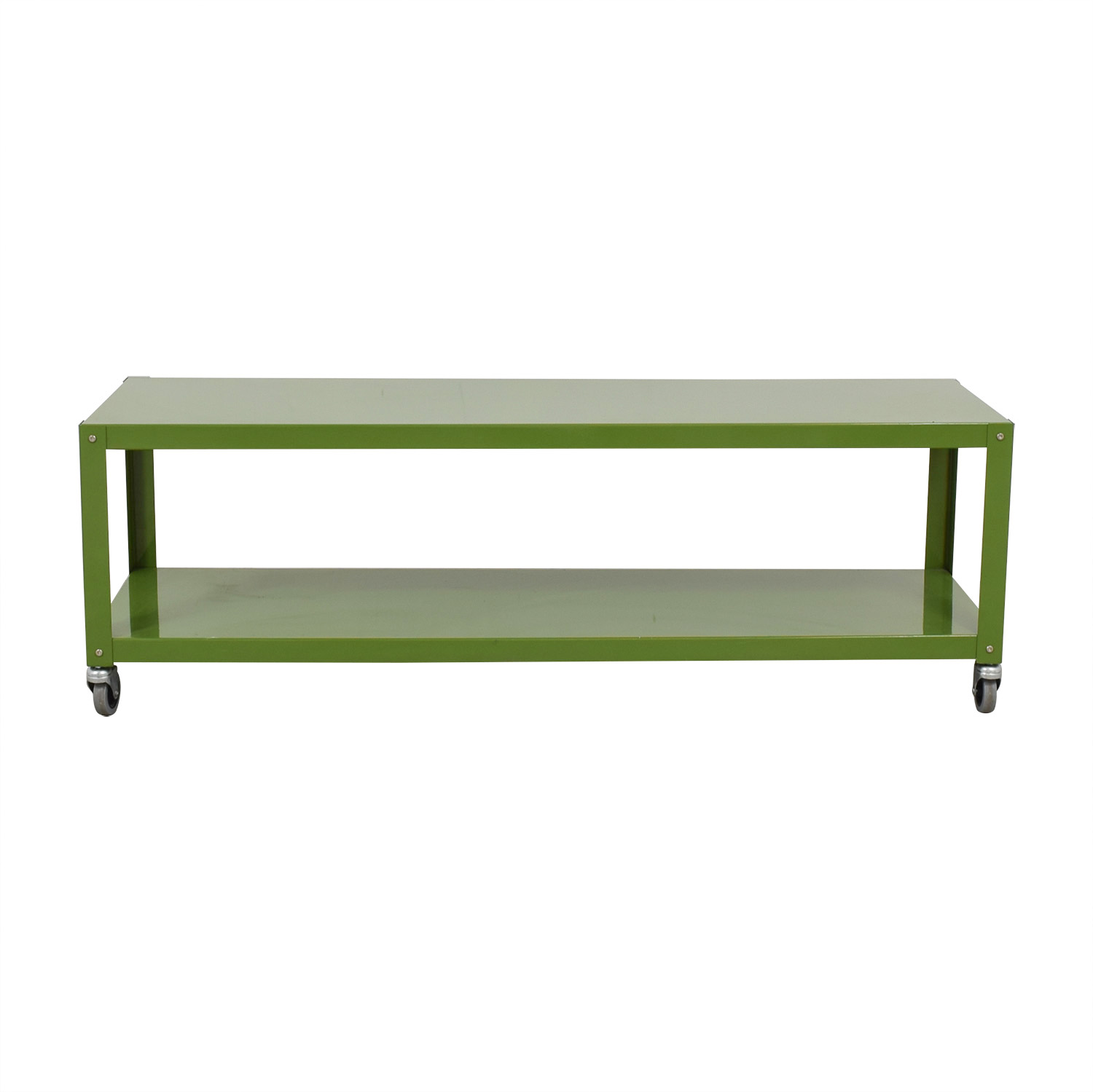 buy CB2 Green Go-Cart Rolling Media Console CB2