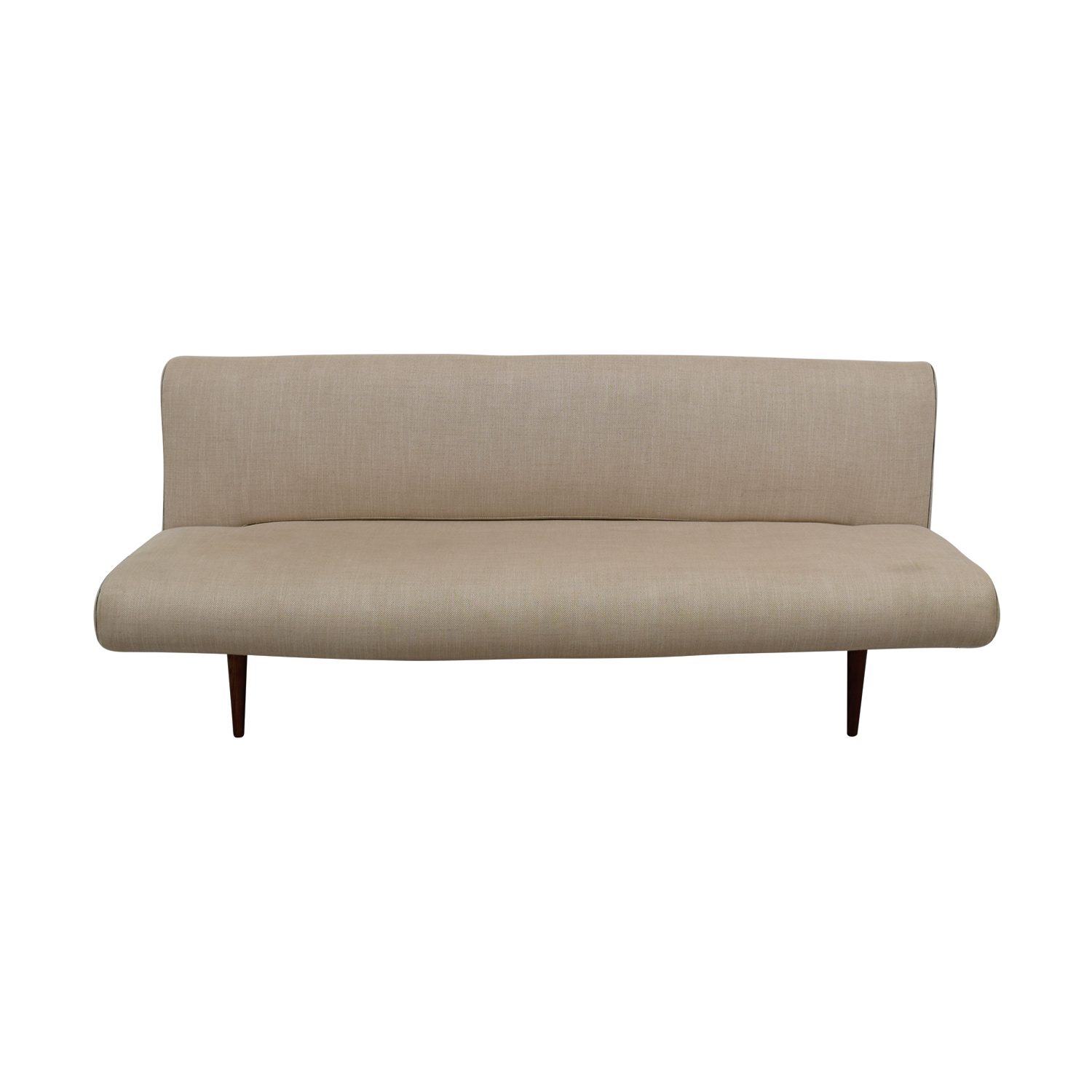 46% OFF - Mid-Century Beige Tweed Unfurl Sleeper Sofa / Sofas
