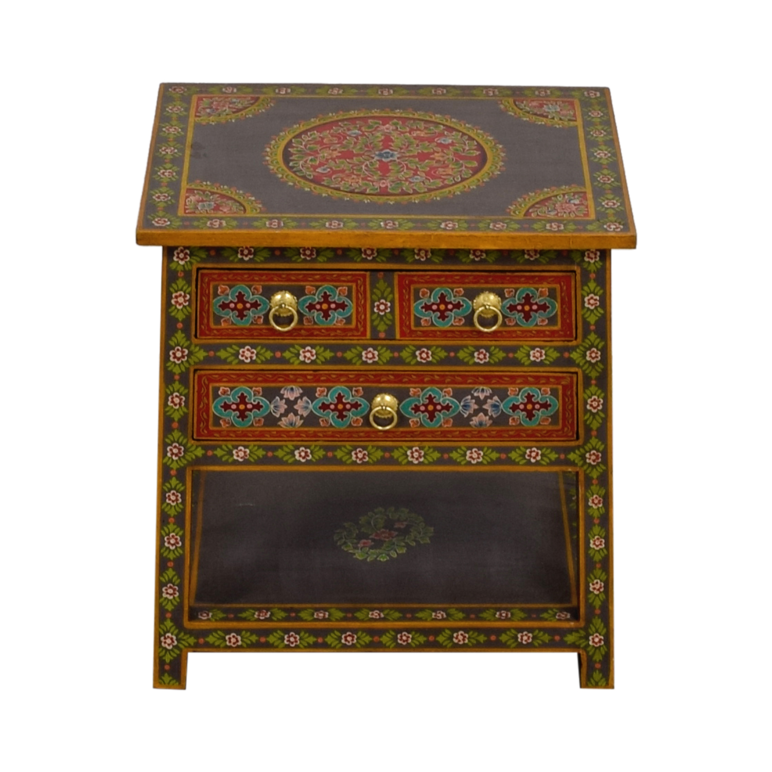 shop World Market World Market Wood Floral Painted Two-Drawer Accent Table online
