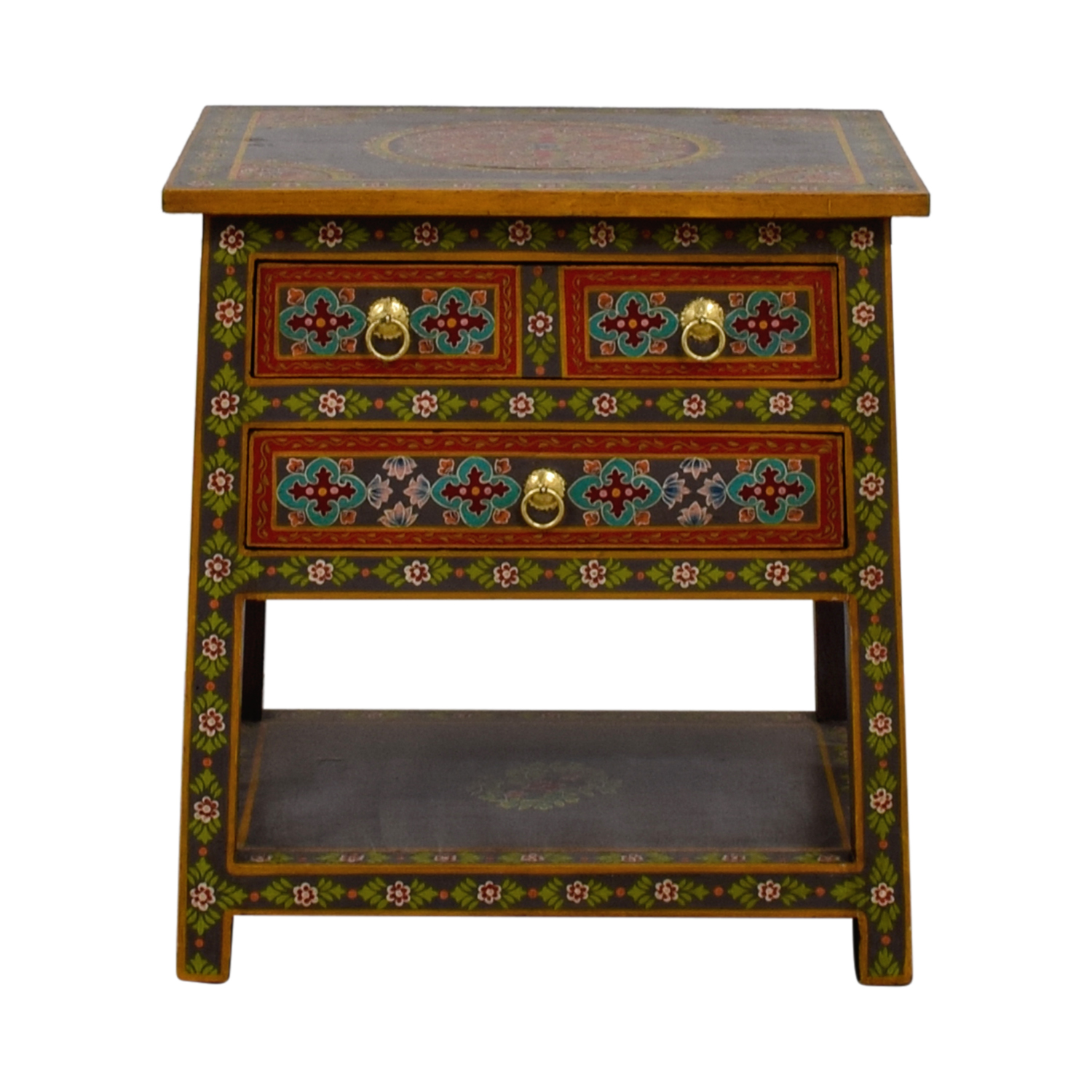 World Market World Market Wood Floral Painted Two-Drawer Accent Table Grey / Multi