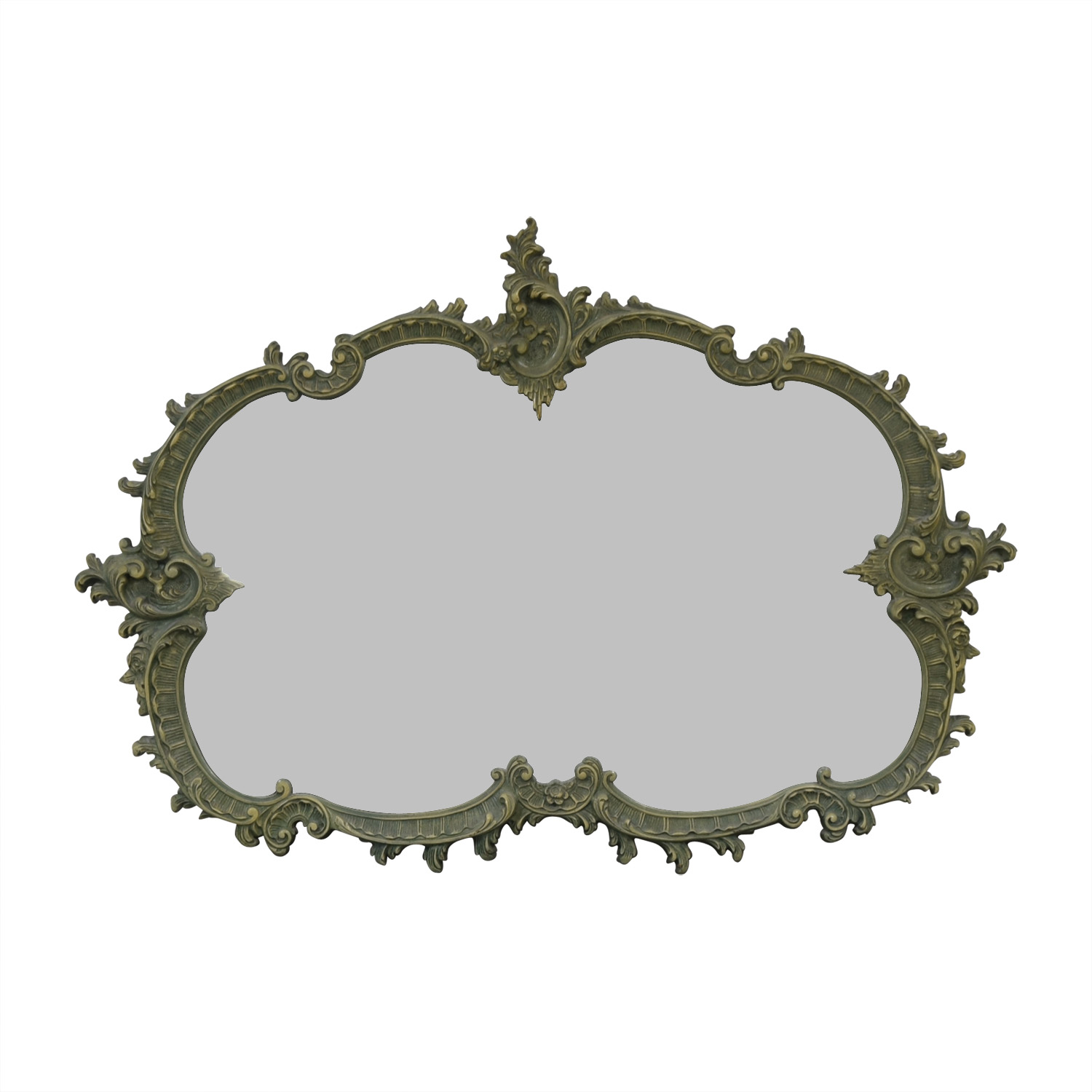 French Provincial Green Wood Carved Mirror coupon