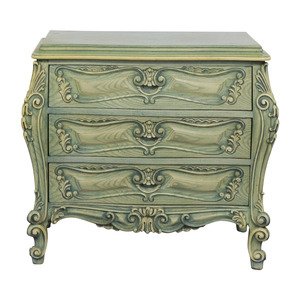 French Provincial Green Three-Drawer Nightstand discount
