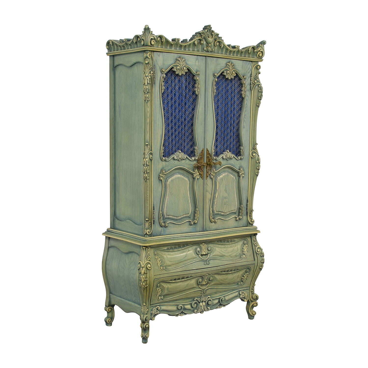 shop French Provincial Green Carved Wood Armoire