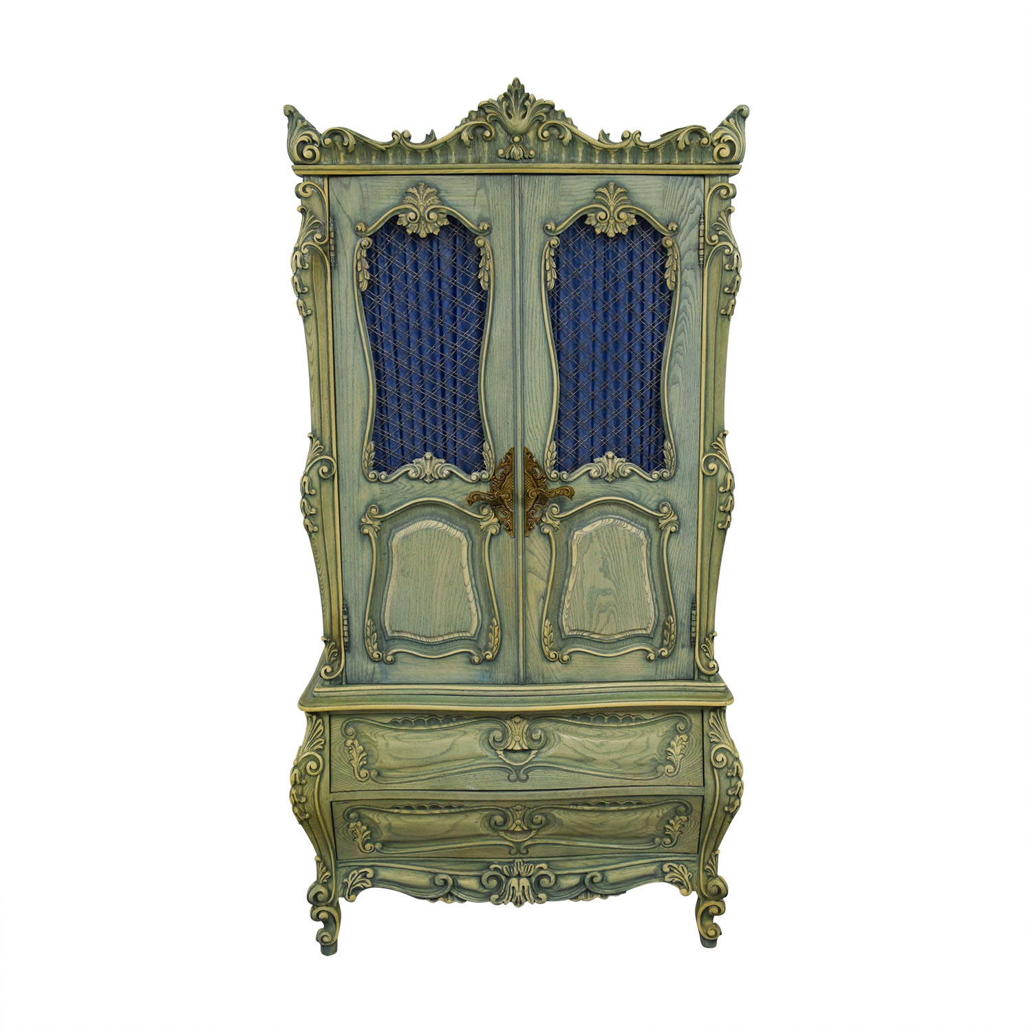 French Provincial Green Carved Wood Armoire sale