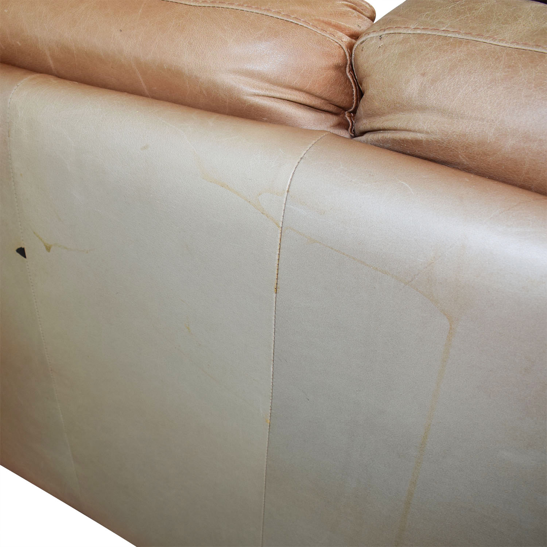 Sensational 90 Off Nicoletti Home Nicoletti Brown Leather Three Cushion Sofa Sofas Ncnpc Chair Design For Home Ncnpcorg