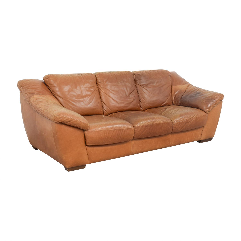 Brilliant 90 Off Nicoletti Home Nicoletti Brown Leather Three Cushion Sofa Sofas Ncnpc Chair Design For Home Ncnpcorg