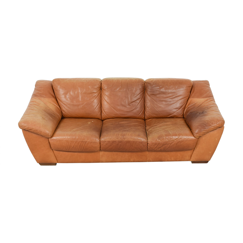 Superb 90 Off Nicoletti Home Nicoletti Brown Leather Three Cushion Sofa Sofas Ncnpc Chair Design For Home Ncnpcorg