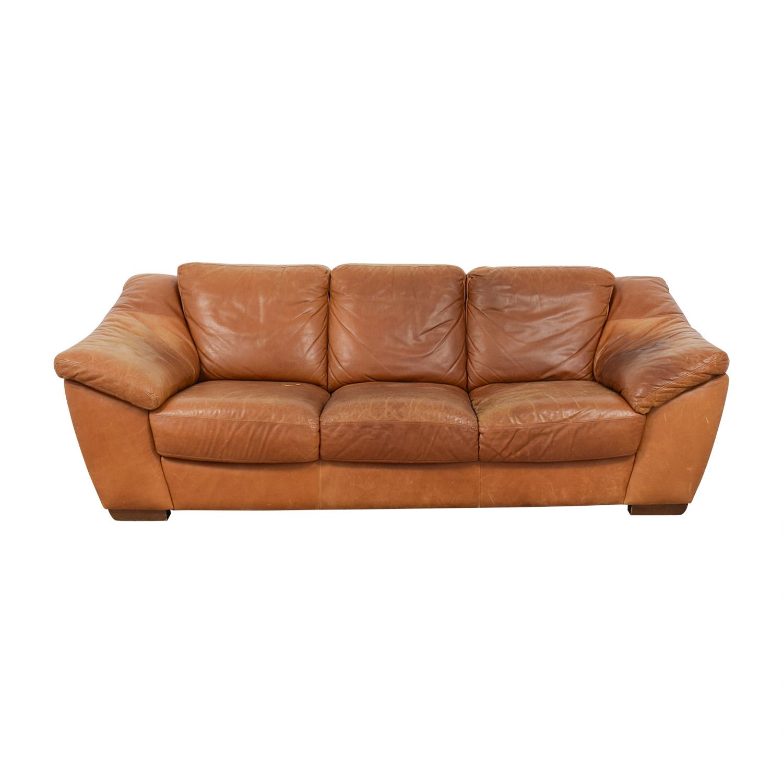 Nicoletti Nicoletti Brown Leather Three-Cushion Sofa nj