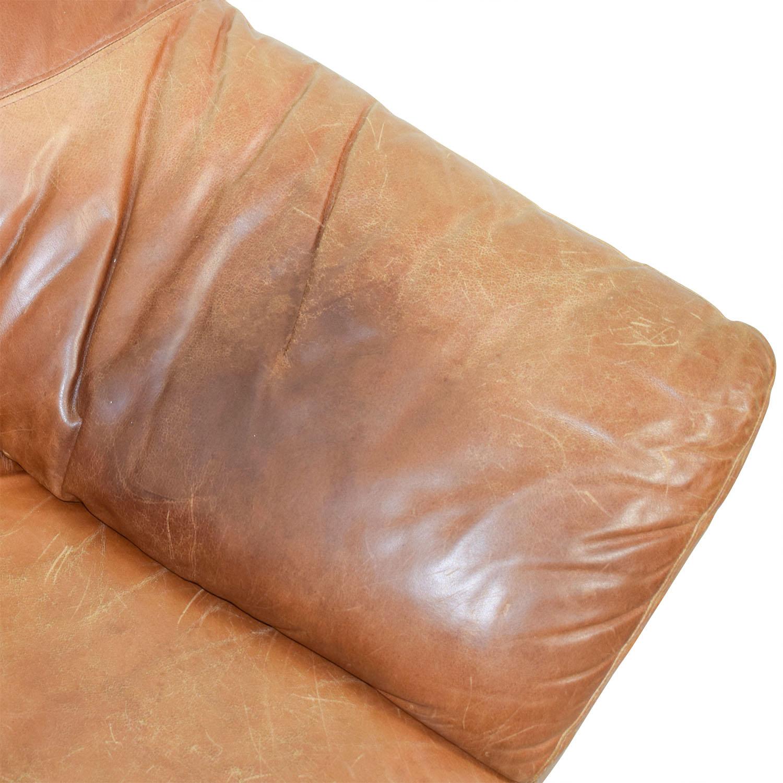 Fantastic 90 Off Nicoletti Home Nicoletti Brown Leather Three Cushion Sofa Sofas Ncnpc Chair Design For Home Ncnpcorg