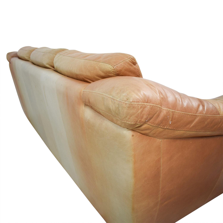 Surprising 90 Off Nicoletti Home Nicoletti Brown Leather Three Cushion Sofa Sofas Ncnpc Chair Design For Home Ncnpcorg