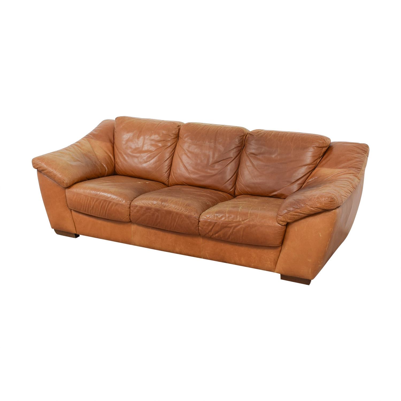 Stupendous 90 Off Nicoletti Home Nicoletti Brown Leather Three Cushion Sofa Sofas Ncnpc Chair Design For Home Ncnpcorg