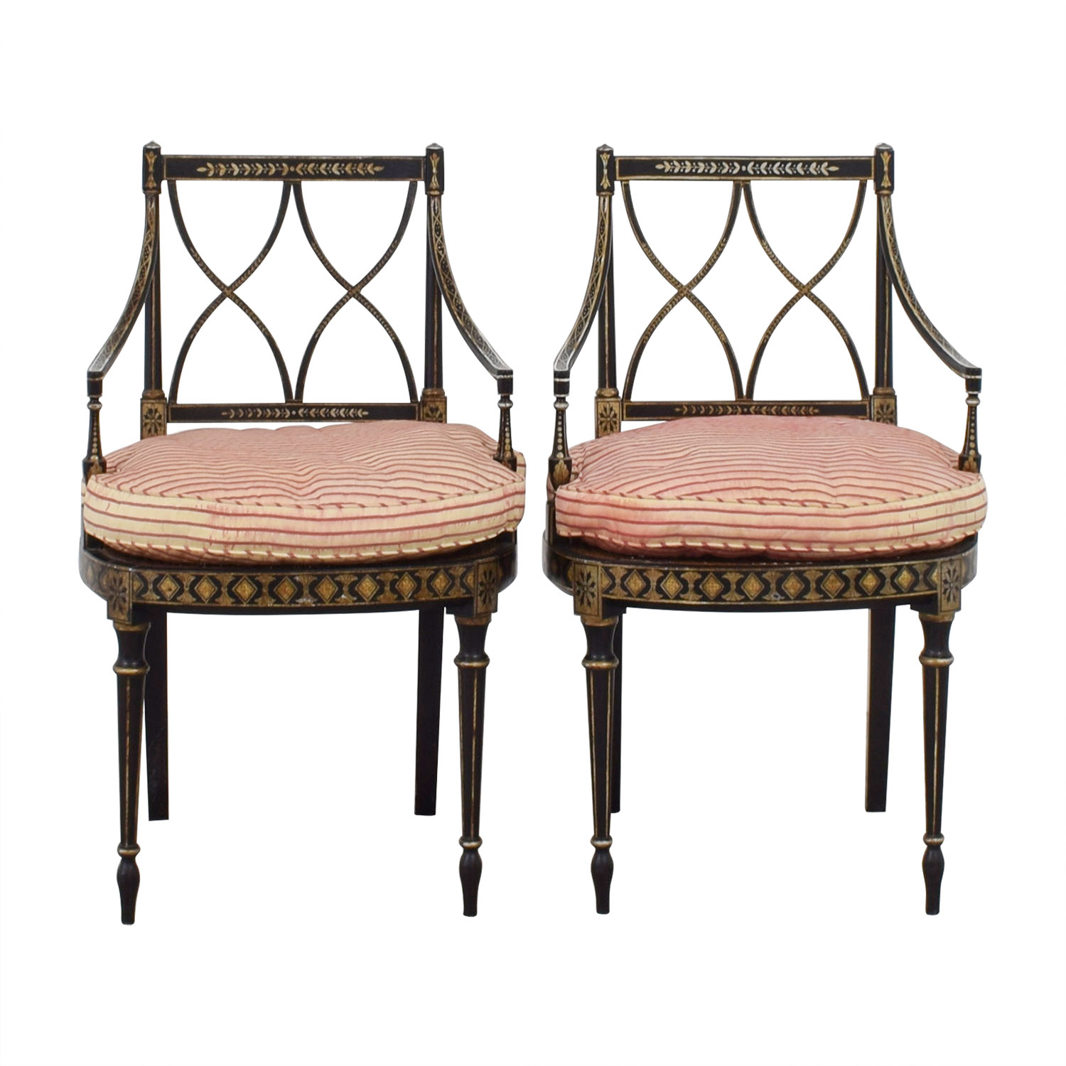 Antique French Empire Red and White Strip Side Chairs
