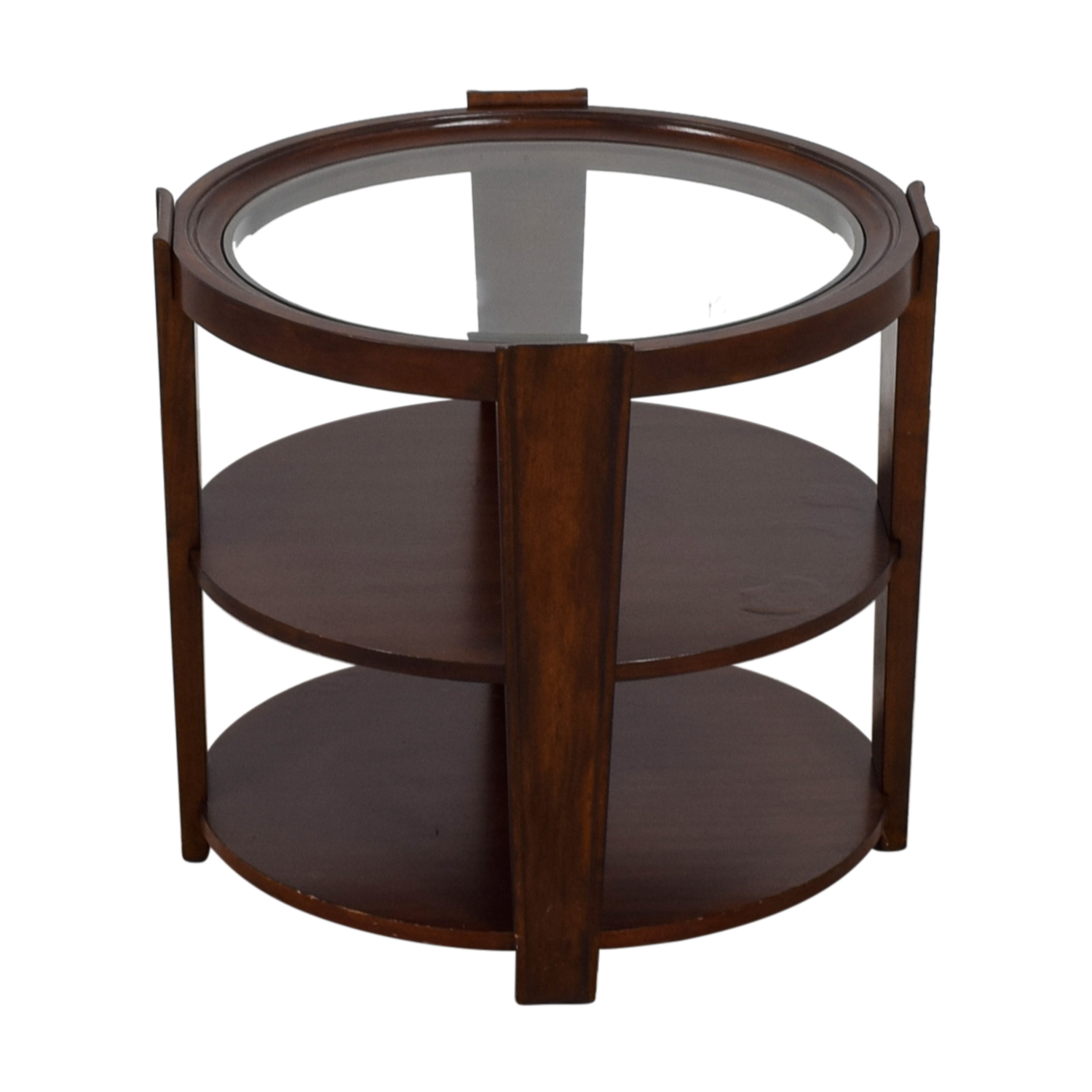 Round Wood and Glass Side Table used