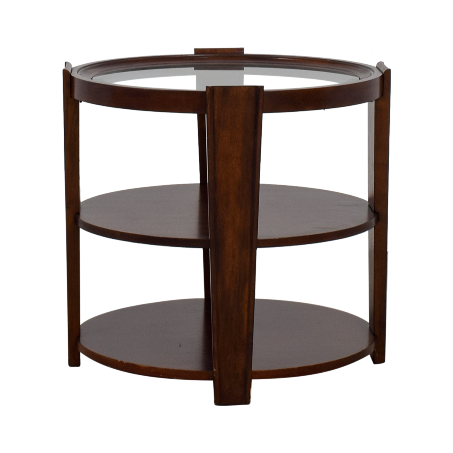 buy  Round Wood and Glass Side Table online