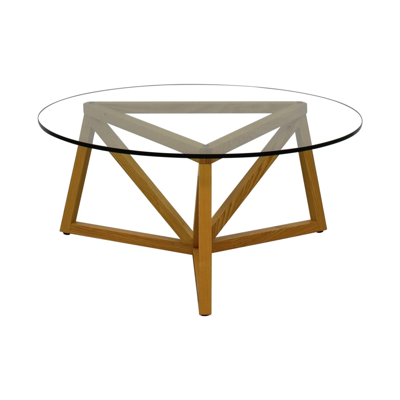 e46776fd94e 66% OFF - Round Glass Center Table   Tables