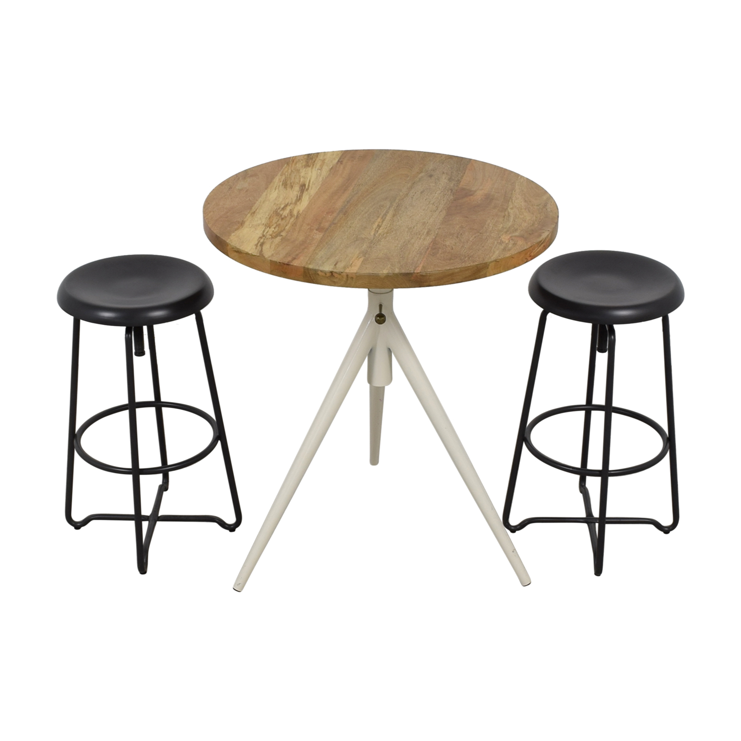 Rustic Wood Table and Bar Stools / Sofas