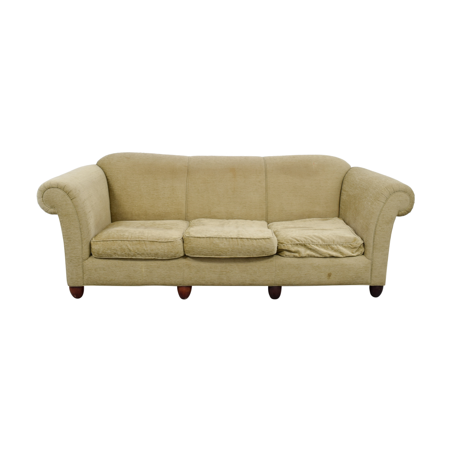 shop Tan Three-Cushion Couch  Sofas