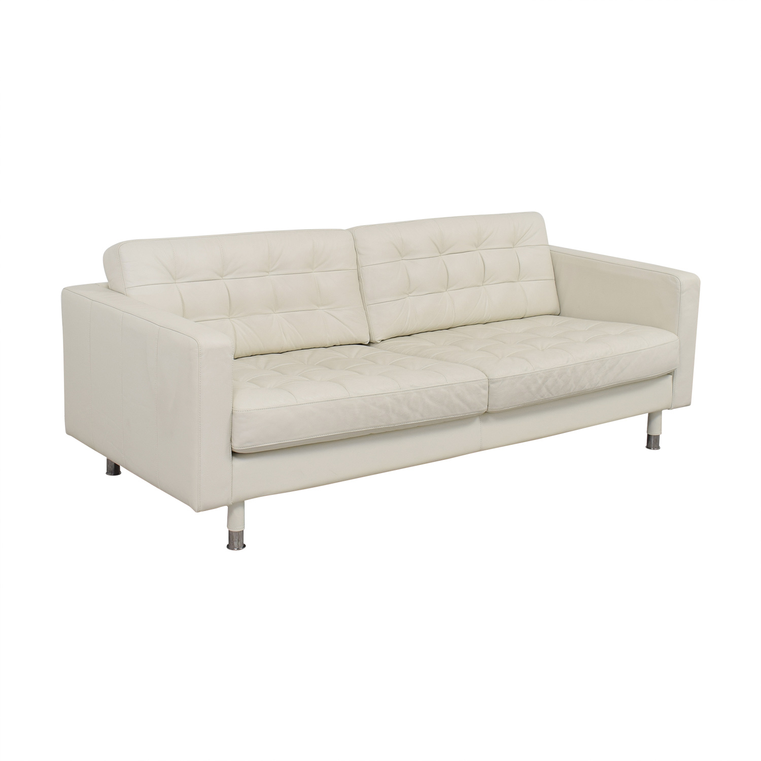 67 off ikea ikea tufted white leather couch sofas. Black Bedroom Furniture Sets. Home Design Ideas