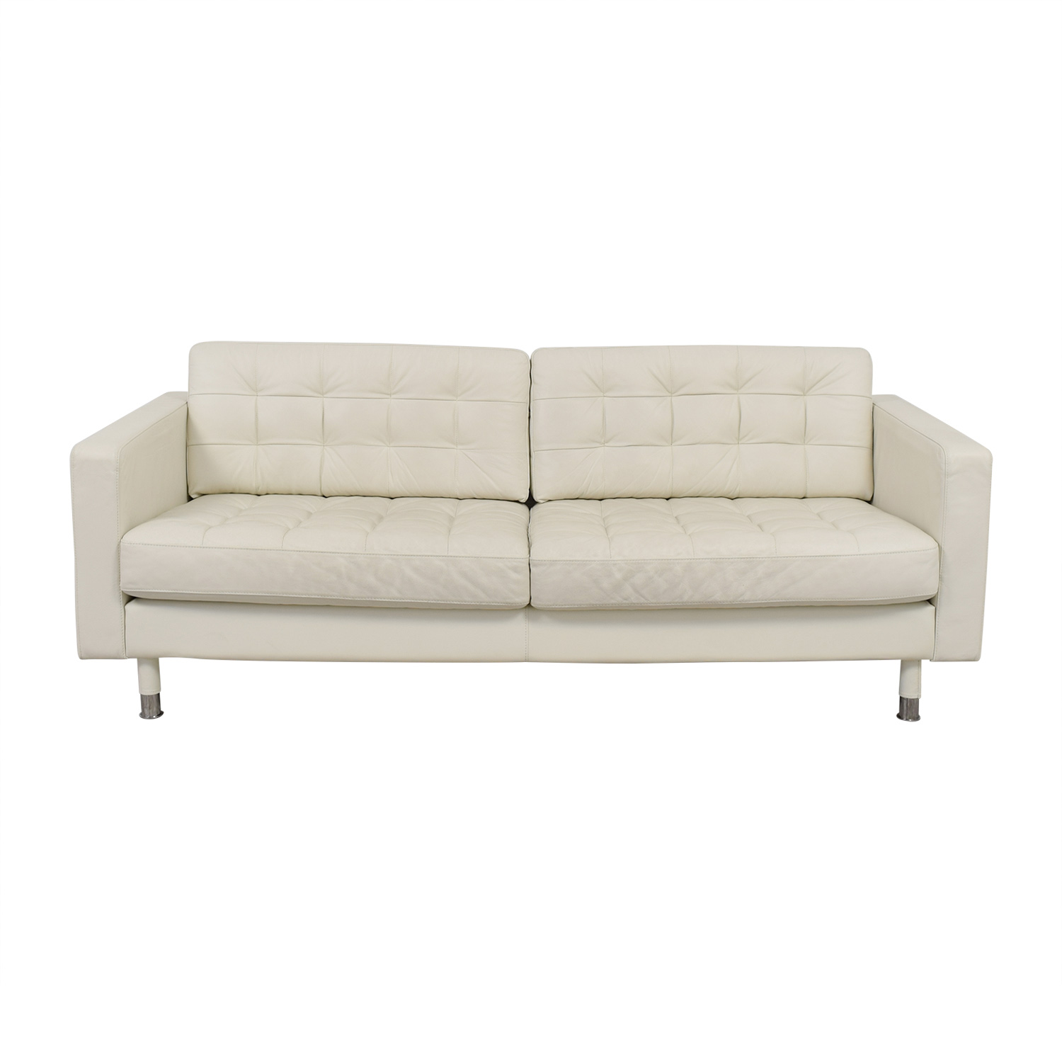 Ikea Tufted White Leather Couch
