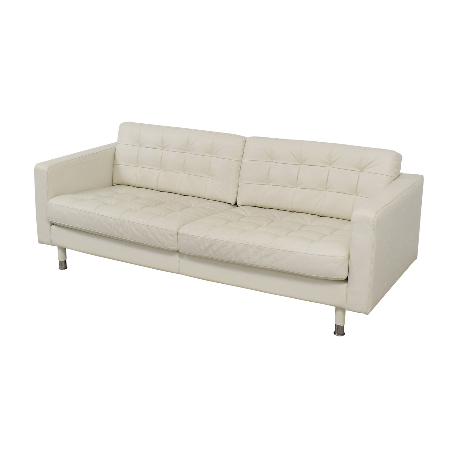 38% OFF - IKEA IKEA Tufted White Leather Couch / Sofas